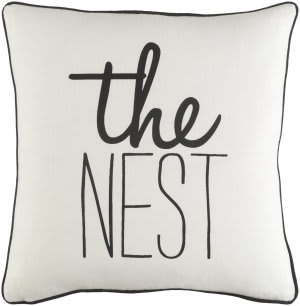 Surya Glyph Pillow The Nest White - Black