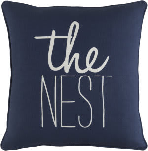 Surya Glyph Pillow The Nest Navy - White