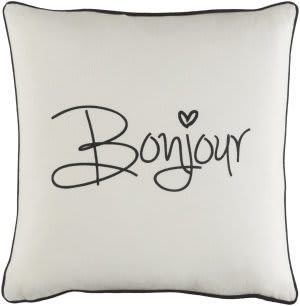 Surya Glyph Pillow Bonjour White - Black