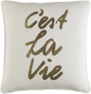 Surya Glyph Pillow C'est La Vie White - Metallic Gold