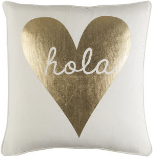 Surya Glyph Pillow Hola White - Metallic Gold