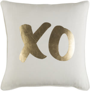 Surya Glyph Pillow Xo White - Metallic Gold