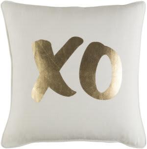 Surya Glyph Pillow Xo White - Metallic Gold