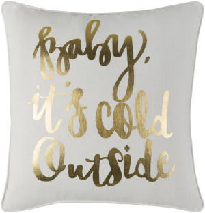 Surya Holiday Pillow Winter Holi7251 Metallic Gold