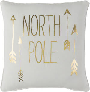 Surya Holiday Pillow North Pole Holi7252 Metallic Gold