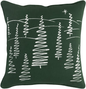 Surya Holiday Pillow Evergreen Holi7263 Forest Green