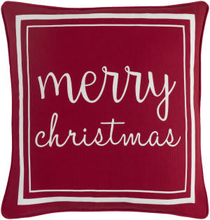 Surya Holiday Pillow Merry Holi7270 Crimson Red
