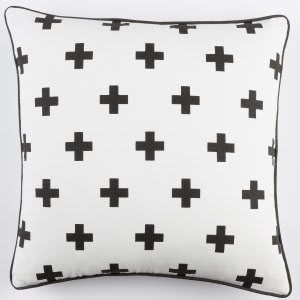 Surya Inga Pillow Cross White - Black
