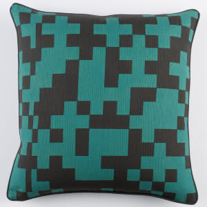 Surya Inga Pillow Puzzle Teal - Black