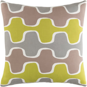 Surya Trudy Pillow Minnie Lime - Gray - Taupe