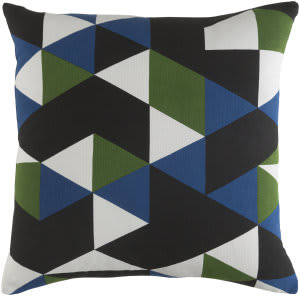Surya Trudy Pillow Geometry Blue - Green - Black