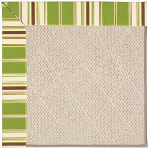 Capel Zoe White Wicker 1993 Green Stripe Area Rug
