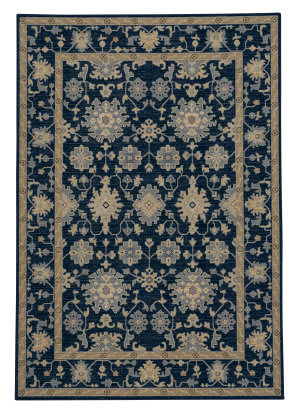 Capel Municipality-Ushak 3415 Dark Blue Area Rug