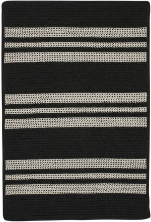 Colonial Mills Sunbrella Southport Stripe Uh19 Black Area Rug