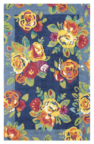 Company C Cabbage Roses 10302 Navy Area Rug