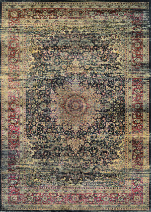 Couristan Zahara Lotus Medallion Black - Red - Oatmeal Area Rug