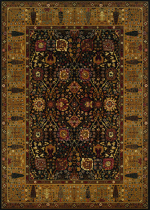 Couristan Royal Kashimar Cypress Garden Black - Deep Maple Area Rug
