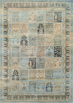 Couristan Zahara Column Panel Light Blue - Black Area Rug