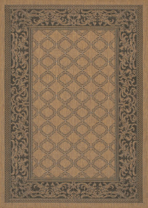 Couristan Recife Garden Lattice Cocoa - Black Area Rug