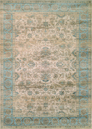 Couristan Zahara Embellished Blossom Light Blue - Oatmeal Area Rug