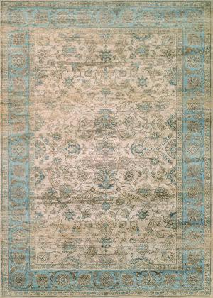 Couristan Zahara Embellished Blossom Light Blue - Oatmeal Area Rug