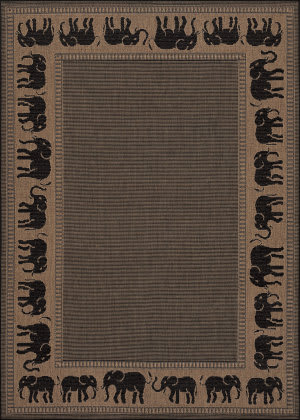 Couristan Recife Elephant Cocoa - Black Area Rug