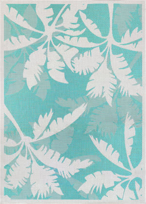 Couristan Monaco Coastal Flora Ivory - Turquoise Area Rug