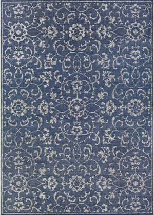 Couristan Monte Carlo Summer Vines Navy - Ivory Area Rug