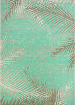 Couristan Monaco Tropical Palms Aqua Area Rug