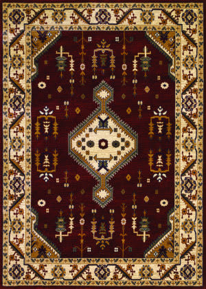Couristan Anatolia Tribal Diamond Red - Cream Area Rug