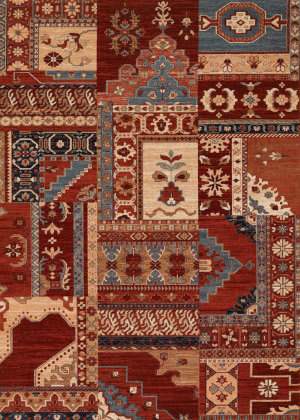Couristan Timeless Treasures Kerman Mosaic Burgundy - Rust Area Rug