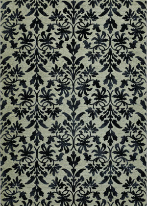 Couristan Everest Retro Damask Grey - Black Area Rug