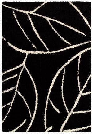 Couristan Moonwalk Laurel Leaf Black - White Area Rug