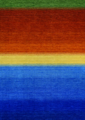 Couristan Oasis Ocean Sunset Ocean Blue - Burnt Orange Area Rug