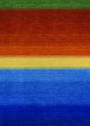 Couristan Oasis Ocean Sunset Ocean Blue - Burnt Orange Area Rug