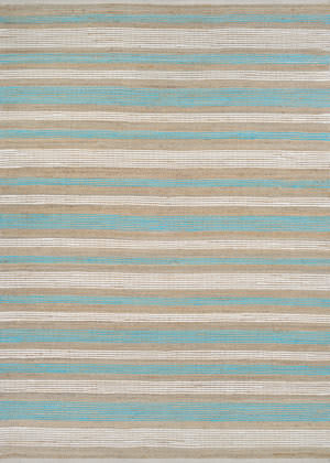 Couristan Nature's Elements Awning Stripes Straw - Artic Blue - White Area Rug