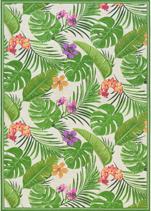 Couristan Dolce Flowering Fern Ivory - Hunter Green Area Rug
