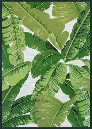 Couristan Dolce Palm Lily Hunter Green - Ivory Area Rug