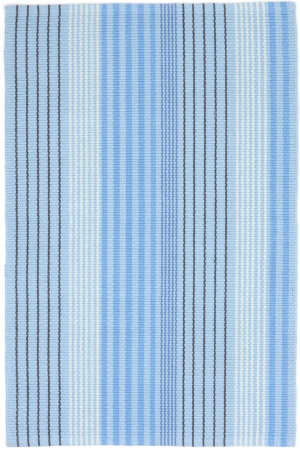 Dash And Albert Blue Sky Ticking Blue Area Rug