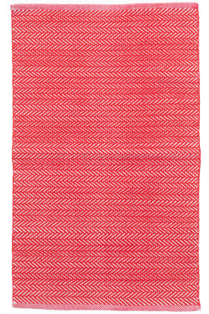 Dash And Albert C3 Herringbone Indoor-Outdoor Red Area Rug