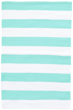 Dash And Albert Catamaran Indoor-Outdoor Aqua - White Area Rug