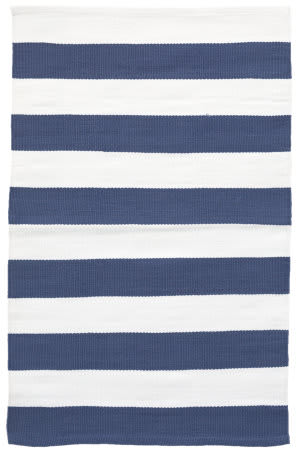 Dash And Albert Catamaran Indoor-Outdoor Denim - White Area Rug