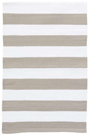 Dash And Albert Catamaran Indoor-Outdoor Platinum - White Area Rug
