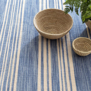 Dash And Albert Cottage Stripe 105486 French Blue Area Rug
