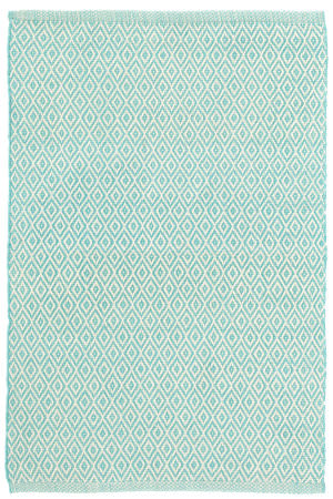 Dash And Albert Crystal Indoor-Outdoor Aqua - Ivory Area Rug