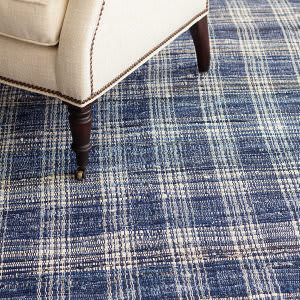 Dash And Albert Denim Cotton Plaid Area Rug