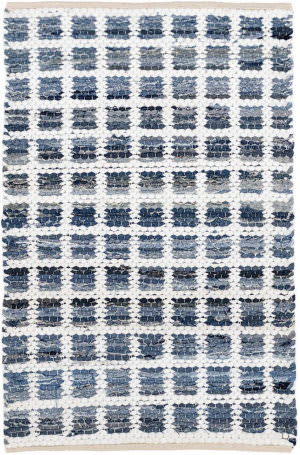 Dash And Albert Denim Rag Squares Woven Blue Area Rug