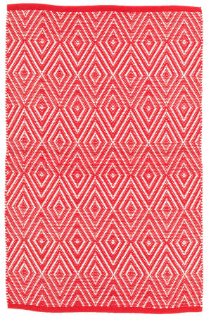 Dash And Albert Diamond Indoor-Outdoor Red - White Area Rug