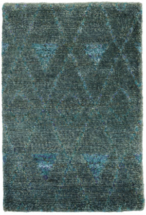 Dash And Albert Emerald Hand Knotted Blue Area Rug