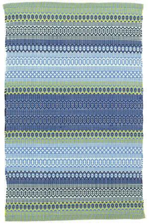Dash And Albert Fiesta Stripe Indoor - Outdoor French Blue-Green Area Rug